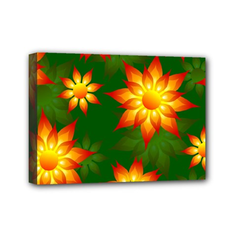 Flower Pattern Floral Non Seamless Mini Canvas 7  X 5  (stretched) by Pakrebo