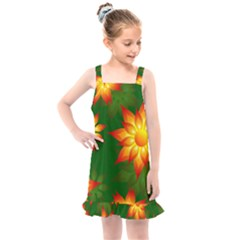 Flower Pattern Floral Non Seamless Kids  Overall Dress