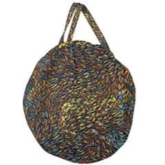 Flames Pattern Texture Gold Giant Round Zipper Tote
