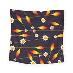 Flower Buds Floral Background Square Tapestry (small) by Pakrebo