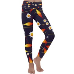 Flower Buds Floral Background Kids  Lightweight Velour Classic Yoga Leggings
