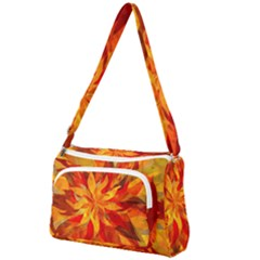 Flower Blossom Red Orange Abstract Front Pocket Crossbody Bag