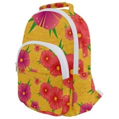 Background Flowers Floral Pattern Rounded Multi Pocket Backpack