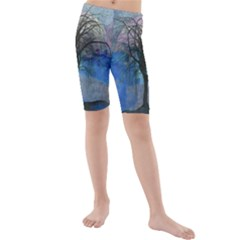Tree Moon Sky Watercolor Painting Kids  Mid Length Swim Shorts by Pakrebo