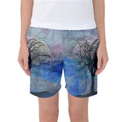 Tree Moon Sky Watercolor Painting Women s Basketball Shorts