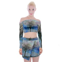 Tree Moon Sky Watercolor Painting Off Shoulder Top With Mini Skirt Set