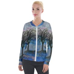 Tree Moon Sky Watercolor Painting Velour Zip Up Jacket by Pakrebo