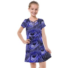 Peacock Feathers Color Plumage Kids  Cross Web Dress