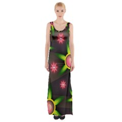 Non Seamless Pattern Background Maxi Thigh Split Dress