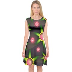 Non Seamless Pattern Background Capsleeve Midi Dress