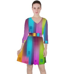 Abstract Background Colorful Ruffle Dress by Pakrebo