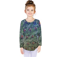 Peacock Feathers Colorful Feather Kids  Long Sleeve Tee