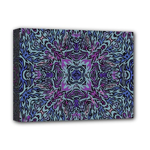 Pattern Fire Purple Repeating Deluxe Canvas 16  X 12  (stretched)  by Pakrebo