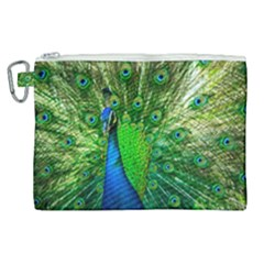 Peacock Peafowl Pattern Plumage Canvas Cosmetic Bag (xl)