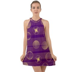 Background Purple Lines Decorative Halter Tie Back Chiffon Dress