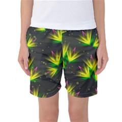 Background Floral Abstract Lines Women s Basketball Shorts by Pakrebo
