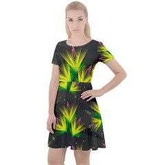 Background Floral Abstract Lines Cap Sleeve Velour Dress  by Pakrebo