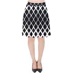 Square Rounded Diagonal Velvet High Waist Skirt