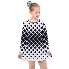 Square Rounded Diagonal Kids  Long Sleeve Dress