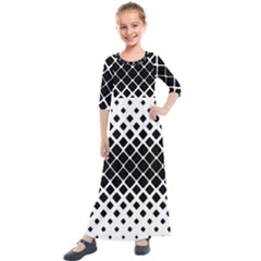 Square Rounded Diagonal Kids  Quarter Sleeve Maxi Dress