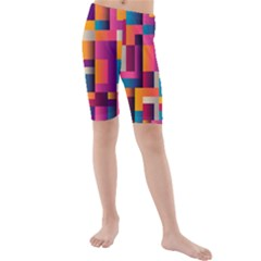 Abstract Background Geometry Blocks Kids  Mid Length Swim Shorts