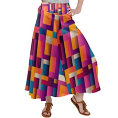Abstract Background Geometry Blocks Satin Palazzo Pants