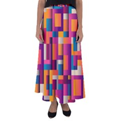 Abstract Background Geometry Blocks Flared Maxi Skirt