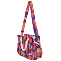 Abstract Background Geometry Blocks Rope Handles Shoulder Strap Bag