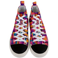 Abstract Background Geometry Blocks Men s Mid Top Canvas Sneakers