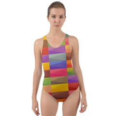 Abstract Background Geometric Cut Out Back One Piece Swimsuit