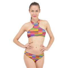 Abstract Background Geometric High Neck Bikini Set