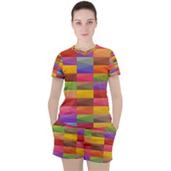 Abstract Background Geometric Women s Tee And Shorts Set