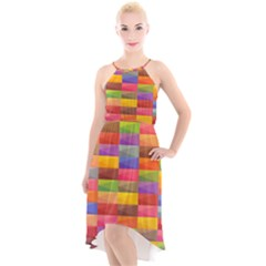 Abstract Background Geometric High Low Halter Chiffon Dress