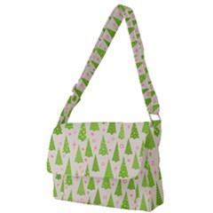 Christmas Green Tree Full Print Messenger Bag