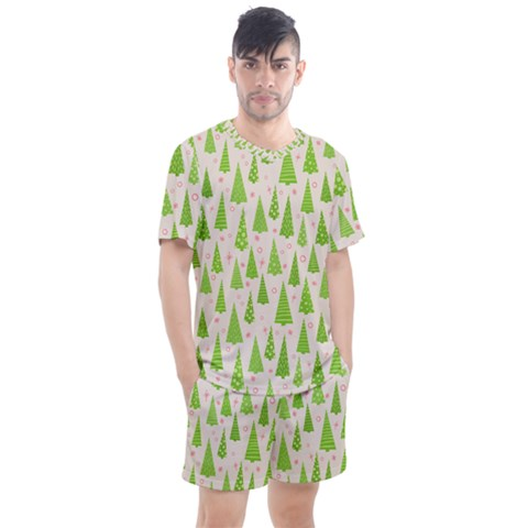 Christmas Green Tree Men s Mesh Tee And Shorts Set by Jojostore