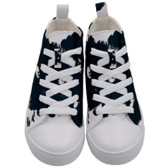 Cat Nature Design Animal Skin Black Kids  Mid Top Canvas Sneakers