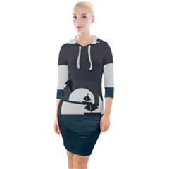 Birds Moon Moonlight Tree Animal Quarter Sleeve Hood Bodycon Dress by HermanTelo