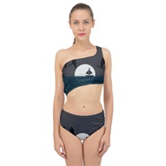 Birds Moon Moonlight Tree Animal Spliced Up Two Piece Swimsuit