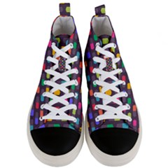 Background Colorful Geometric Men s Mid Top Canvas Sneakers