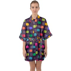 Background Colorful Geometric Quarter Sleeve Kimono Robe by HermanTelo