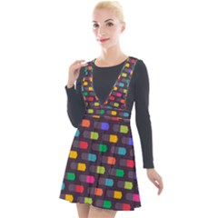 Background Colorful Geometric Plunge Pinafore Velour Dress