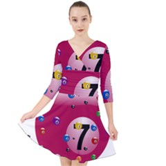 Billiard Ball Ball Game Pink Quarter Sleeve Front Wrap Dress