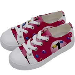 Billiard Ball Ball Game Pink Kids  Low Top Canvas Sneakers by HermanTelo