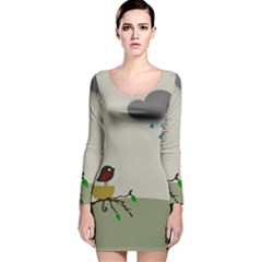 Birds Tree Animal Black Tree Long Sleeve Velvet Bodycon Dress