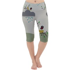 Birds Tree Animal Black Tree Lightweight Velour Cropped Yoga Leggings