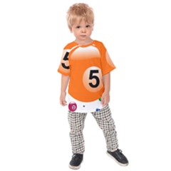 Billiard Ball Ball Game Pink Orange Kids  Raglan Tee