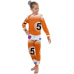 Billiard Ball Ball Game Pink Orange Kids  Long Sleeve Set  by HermanTelo