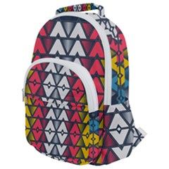 Background Colorful Geometric Unique Rounded Multi Pocket Backpack