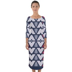 Background Colorful Geometric Unique Quarter Sleeve Midi Bodycon Dress by HermanTelo