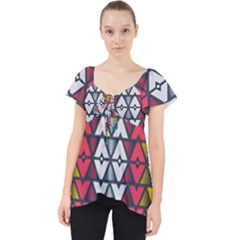Background Colorful Geometric Unique Lace Front Dolly Top